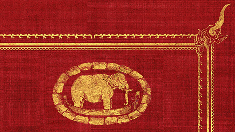 A Thai elephant in a gondola, surrounded by the corbelling of a patera—decorative elements from the book's cover art by Samuel Humphreys.
