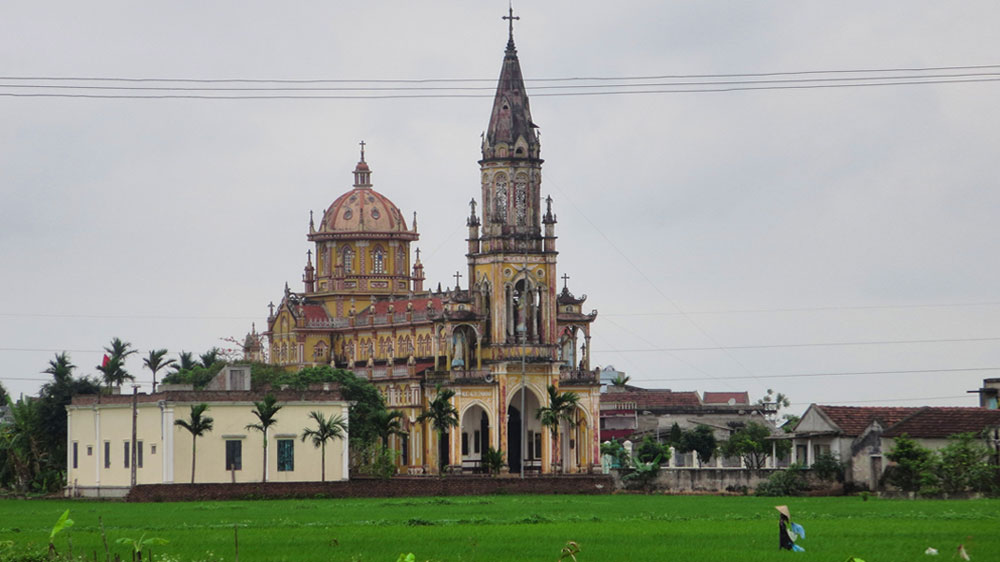 The beautifully strange church-and-paddy landscape of Nam Dinh, Vietnam.