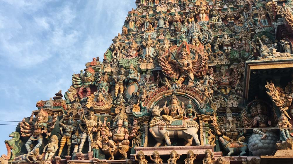 The eastern gopuram of Madurai's Meenakshi Temple, a splendid example of the art and architecture that attracted me to Tamil Nadu